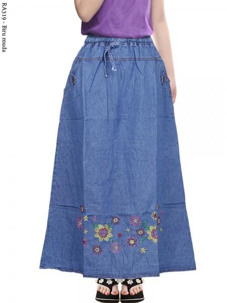 RA319 Rok Jeans Anak Tanggung Motif Bordir Bunga