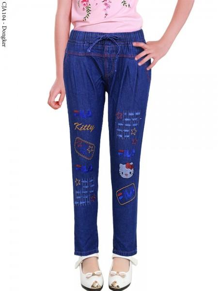 CJA104 Celana Jeans Anak Bordir Hellokitty Fila