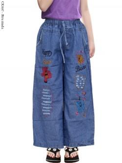 CKA97 Celana Kulot Jeans Anak Bordir Bear