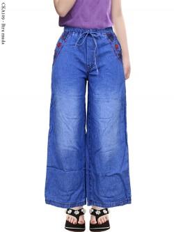 CKA109 Celana Kulot Jeans Anak List Bunga