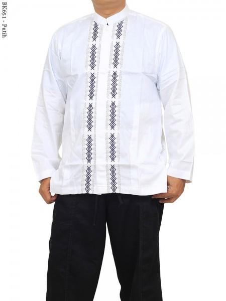 BK651 Baju Koko Albatar Putih Katun Bordir