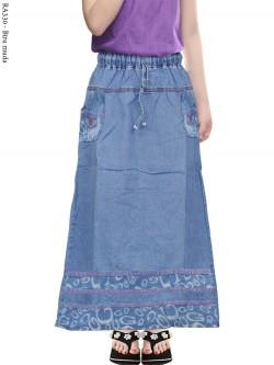 RA330 Rok Jeans Anak Tanggung List Motif