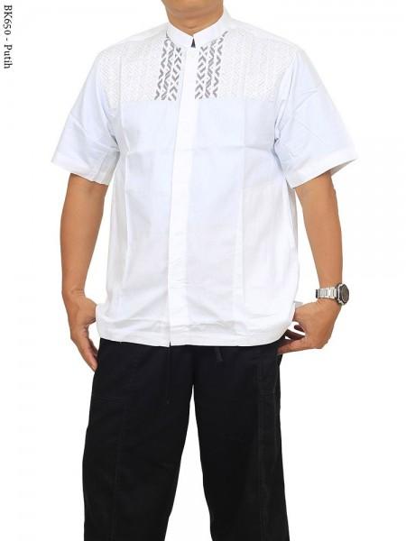 BK650 Baju Koko Albatar Putih Katun Bordir
