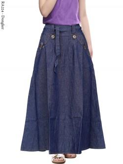 RA244 Rok Jeans Anak List Bunga 6-10th