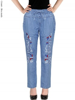 CA440 Celana Jeans Remaja/ABG Dewasa Bordir Fila