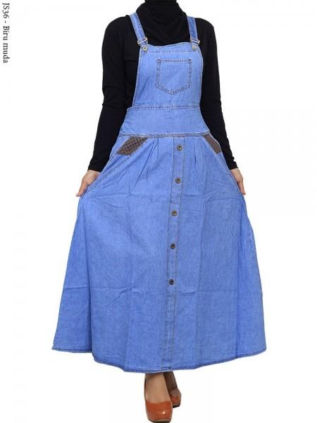 JS36 Overall Maxi Jeans Remaja Hias Kancing