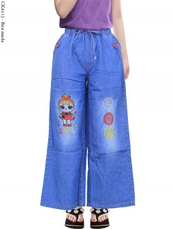 CKA113 Celana Kulot Jeans Anak Tanggung Bordir LOL