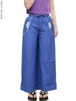 CKA117 Celana Kulot Jeans Anak List Motif