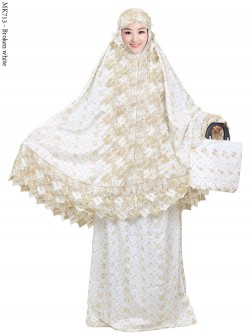 MK713 Mukena Sutra Full Bordir Renda Import