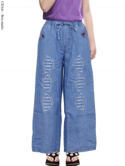 CKA91 Celana Kulot Jeans Anak Tanggung Bordir