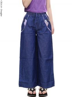 CKA118 Celana Kulot Jeans Anak List Motif