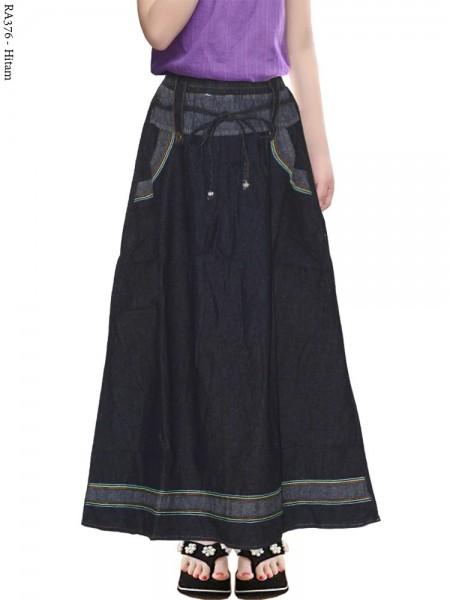 RA376 Rok Jeans Anak List Bunga 6-9th