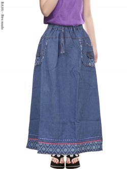 RA381 Rok Jeans Anak Tanggung List Motif