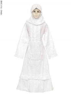 BMC1751 (7-12) Gamis Anak Putih Bordir Senada