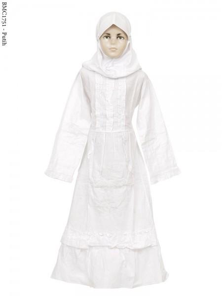 BMC1751 (7-12) Gamis Putih anak Bordir Senada