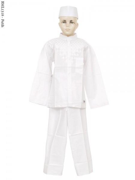 BML1318 (7-12) Baju Koko Anak Katun Putih Bordir