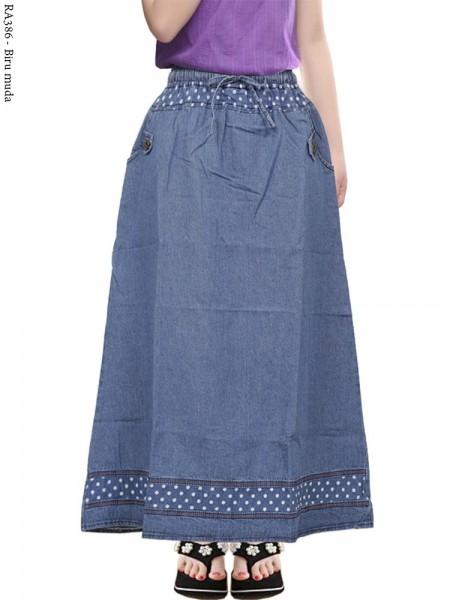 RA386 Rok Jeans Anak Tanggung List Polka