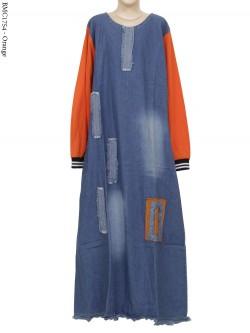 BMC1754 Gamis Jeans Anak Kombinasi Warna