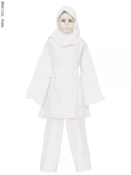 BMC1755 (7-12) Baju Anak Setelan Celana Putih