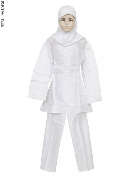 BMC1764 (7-12) Baju Anak Setelan Celana Putih