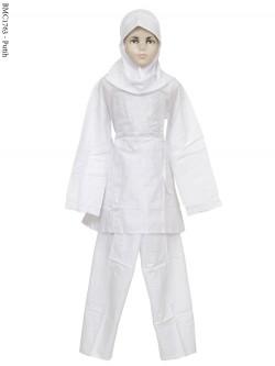 BMC1763 (7-12) Baju Anak Setelan Celana Putih