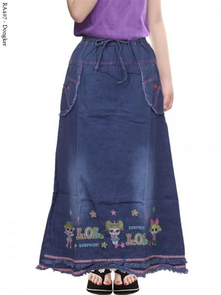 Ra407 Rok Jeans Anak Rawis Bordir LOL