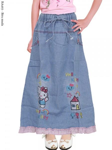 RA403 Rok Jeans Anak Bordir Hellokitty