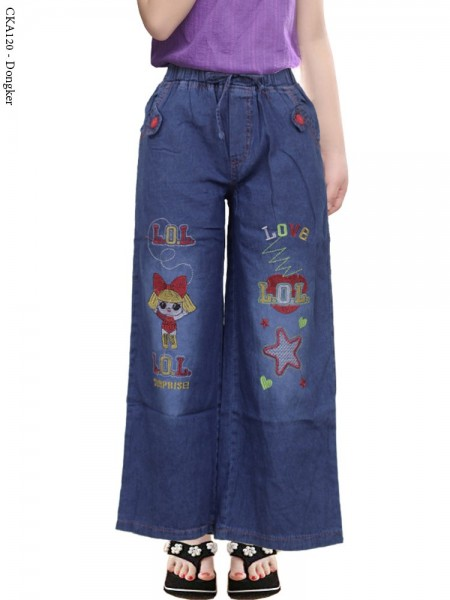 CKA120 Celana Kulot Jeans Anak Bordir LOL