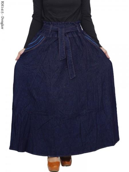 RM1415 Rok Jeans Jumbo Payung List Jahitan Rantai