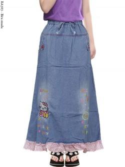 RA383 Rok Jeans Anak Bordir Hellokitty