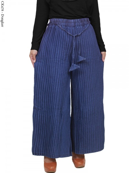 CK478 Celana Kulot jeans plisket