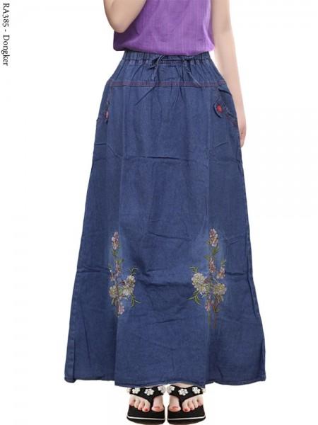 RA385 Rok Jeans Anak Tanggung Bordir Bunga