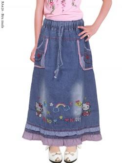 RA420 Rok Jeans Anak Bordir Hellokitty 18-22