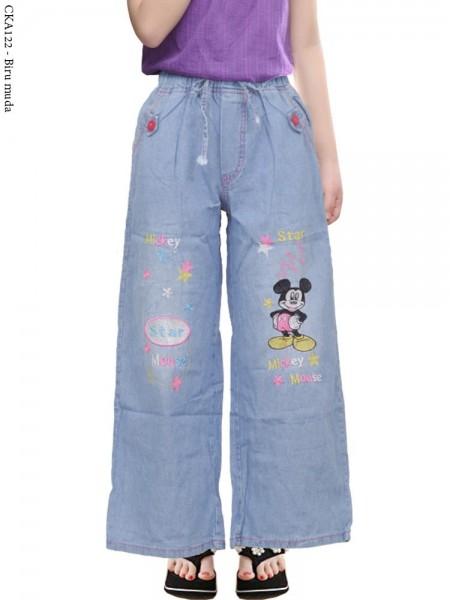 CKA122 Celana Kulot Jeans Anak Bordir mickey Mouse