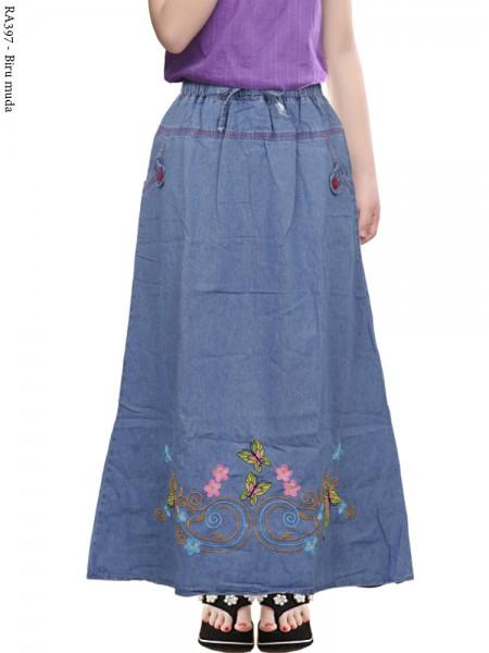 RA397 Rok Jeans Anak Tanggung Bordir Butterfly