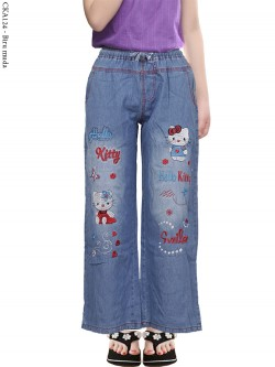 CKA124 Celana Kulot Jeans Anak Bordir Hellokitty