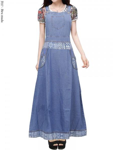 JS57 Overall Maxi Jeans Remaja Motif Batik