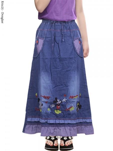 RA425 Rok Jeans Anak Bordir Mickeymouse
