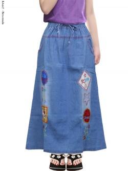 RA427 Rok Jeans Anak Tanggung Bordir Hellokitty