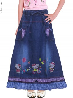 RA429 Rok Jeans AnaK Bordir Hellokitty Renda 3-5th