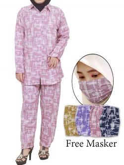 ST09 Setelan Rayon One Set Free Masker