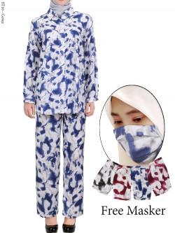 ST10 Setelan Wanita One Set Tie Dye Free Masker