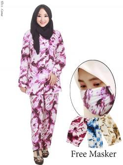 ST11 Setelan Wanita One Set Tie Dye Free Masker