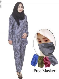 ST12 Setelan Wanita One Set Tie Dye Free Masker