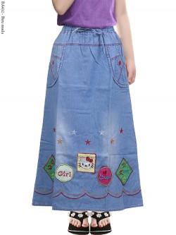 RA432 Rok Jeans Anak Tanggung Bordir Hellokitty