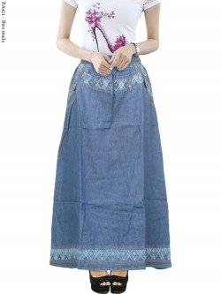 RA421 Rok Jeans Anak Tanggung List Bunga