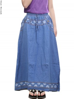 RA435 Rok Jeans Anak Tanggung List Bunga