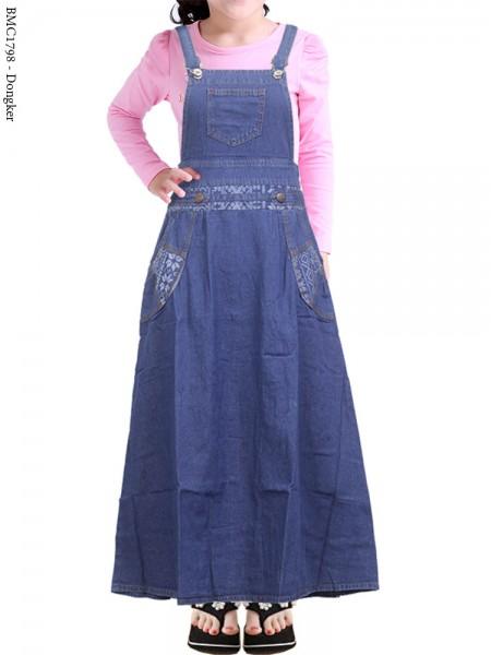 BMC1798 Overall Jeans Anak Tanggung List batik