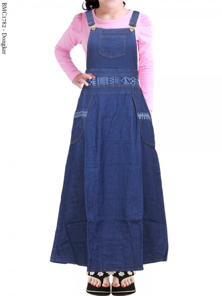 BMC1782 Overall Jeans Anak Tanggung List batik