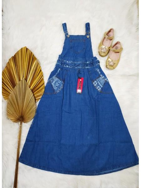 BMC1819 Overall Jeans Anak Tanggung List batik